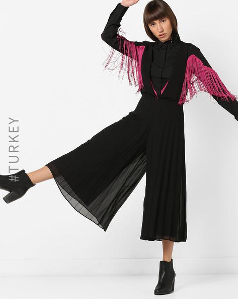 Sleeveless Jumpsuit With Plunge Neckline By TRENDYOL ( Black )