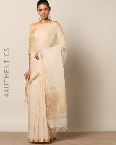 Handloom Pure Silk Cotton Saree With Zari Border By Indie Picks ( Beige )