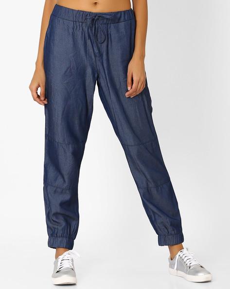 Cut & Sew Denim Trousers By AJIO ( Blue )