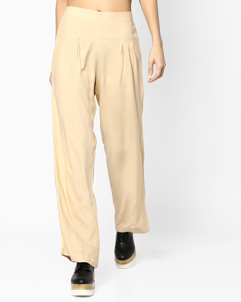 High-Rise Palazzo Pants By PASLEI ( Beige )