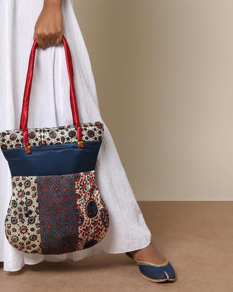 Ajrak Hanblock Print Mashru Tote Bag By Indie Picks ( Multi )