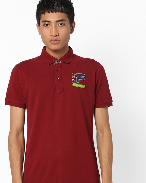 Polo T-shirt With Applique Branding By FILA ( Brown )