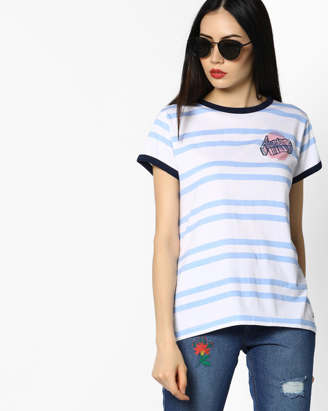 Striped Crew-Neck T-shirt By Pepe Jeans ( Blue )