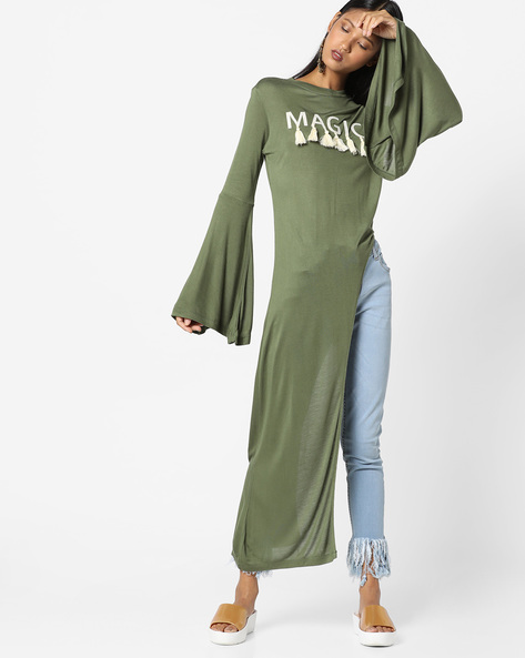 Asymmetric-Hem Tunic With Bell Sleeves By AJIO ( Olive )
