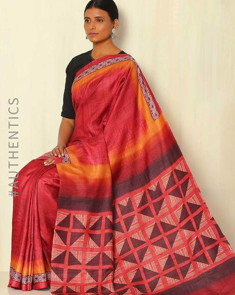Handblock Print Pure Silk Desi Tussar Handloom Saree By Sujata Weaves And Prints ( Red )