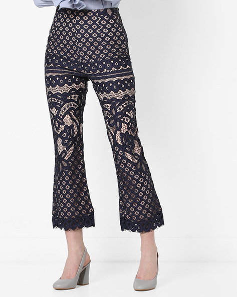 Lace Cropped Pants By MDS ( Navyblue )