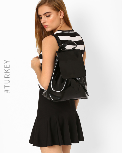 Backpack With Double Closure By TIFFANY & TOMATO ( Black )