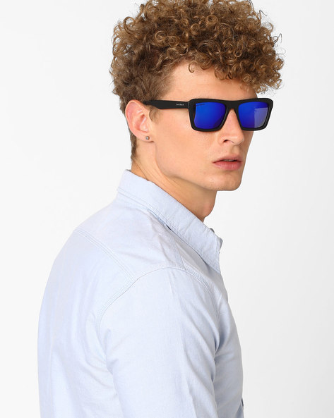 Mirrored Rectangular Sunglasses By Joe Black ( Blue )