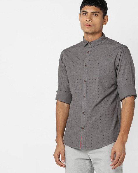 Micro-Print Slim Fit Shirt By AJIO ( Grey )