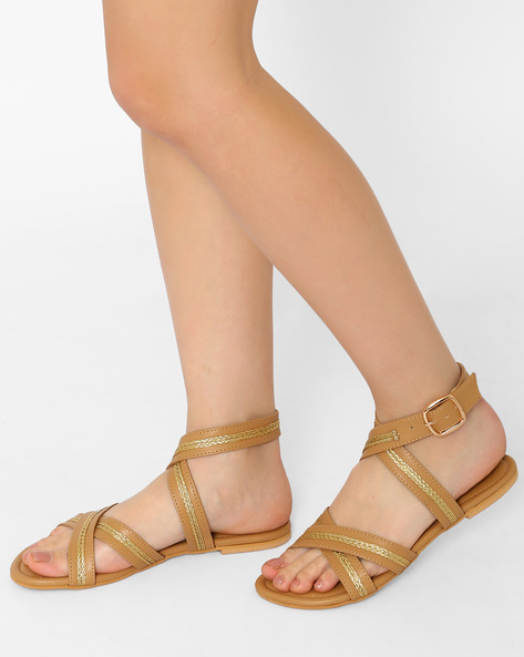 Flats With Criss-Cross Straps By Curiozz ( Beige )