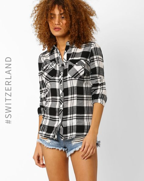 Checked Shirt With Flap Pockets By TALLY WEiJL ( Black )