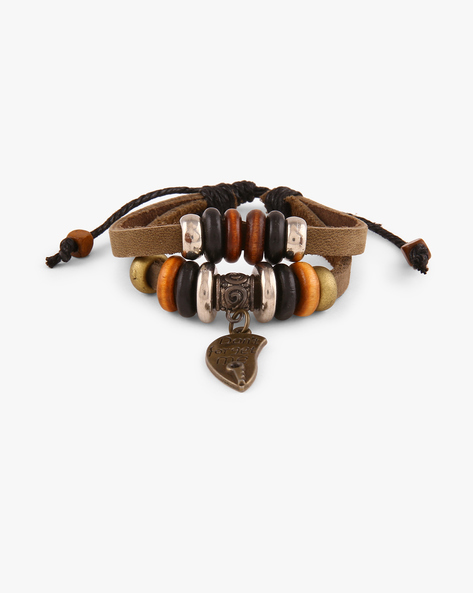 Woven Thread Faux-Leather Bracelet By ALPHA MAN ( Multicolor )