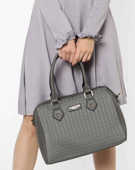 Textured Handbag With Detachable Sling Strap By Carlton London ( Grey )