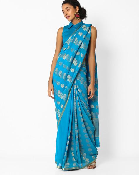 Saree With Zari Work By Amori ( Blue )