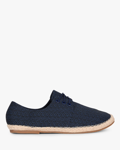 Textured Lace-Up Espadrilles By AJIO ( Navy )