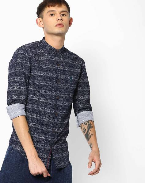 Printed Shirt With Patch Pocket By MUFTI ( Navy )