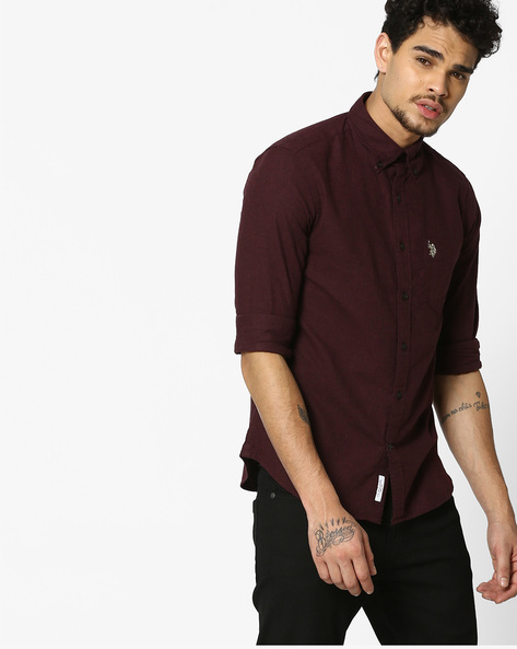 Slim Fit Shirt With Button-Down Collar By US POLO ( Wine )