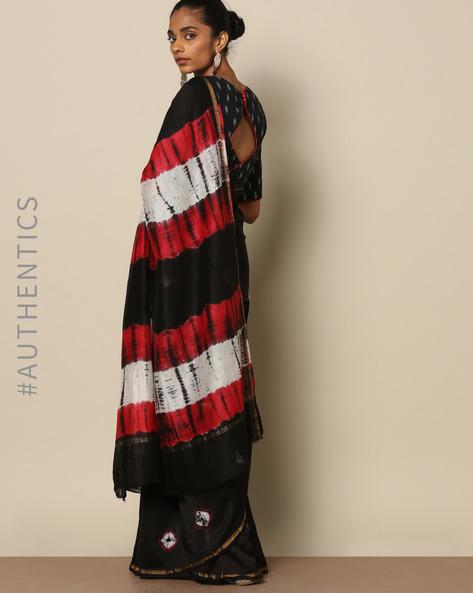 Shibori Tie Dye Chanderi Saree With Zari By Indie Picks ( Multi ) - 460146864001