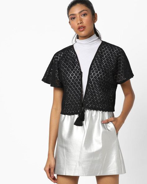 Floral Lace Shrug With Tie-Up By AJIO ( Black )