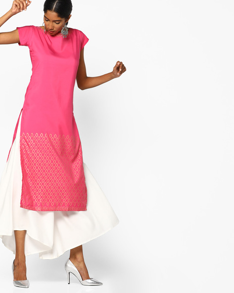 Foil Print Straight Kurta By ZIYAA ( Pink ) - 460097586002