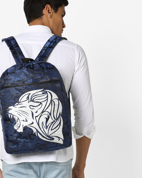 Camouflage Print Laptop Backpack By AJIO ( Navy )