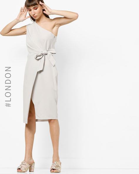 One-Shoulder Asymmetrical Dress With Tie-Up By Closet London ( Grey )