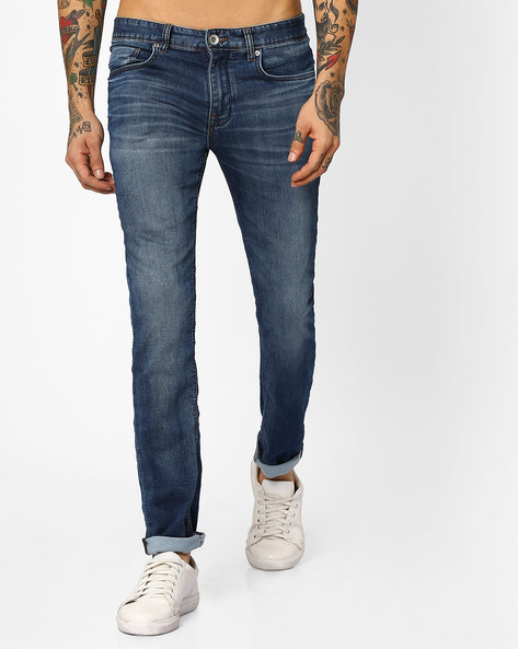 Lightly Washed Slim Fit Jeans By SELECTED ( Blue )