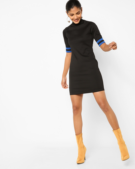 Bodycon Dress With Contrast Tapings By AJIO ( Black )