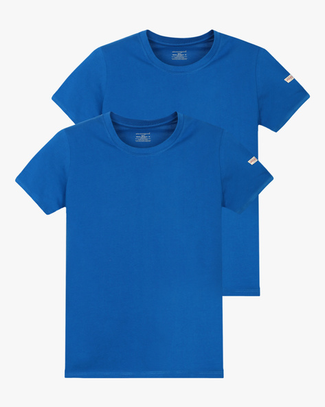 Pack Of 2 Crew-Neck T-shirts By CHROMOZOME ( Lightblue )