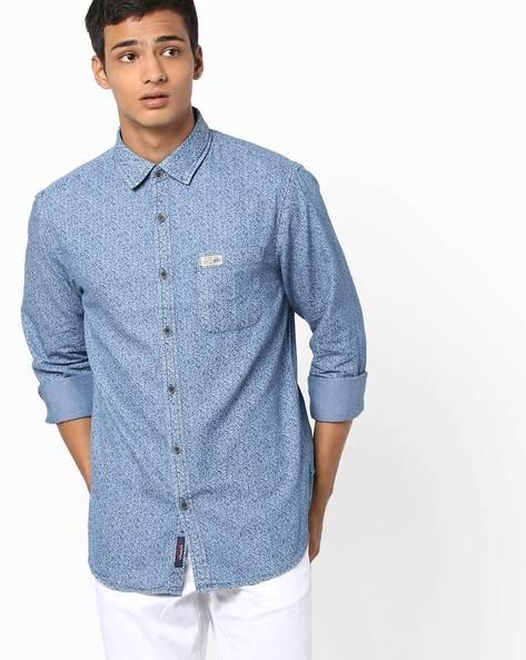 Printed Cotton Shirt By US POLO ( Indigo )