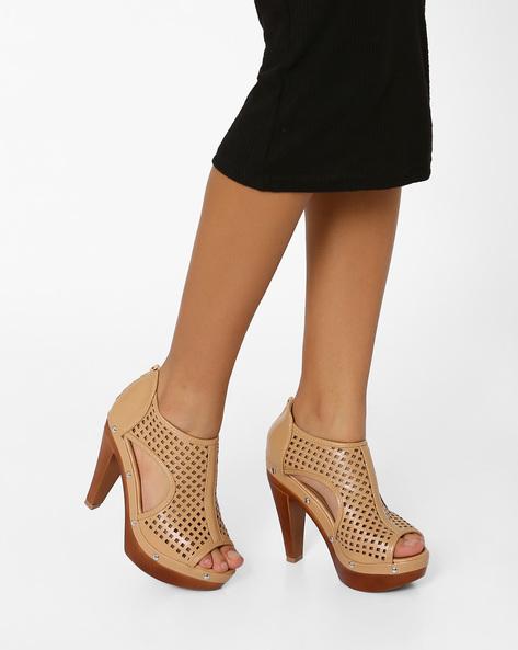 Laser-Cut Cone Heels By MFT Couture ( Beige )