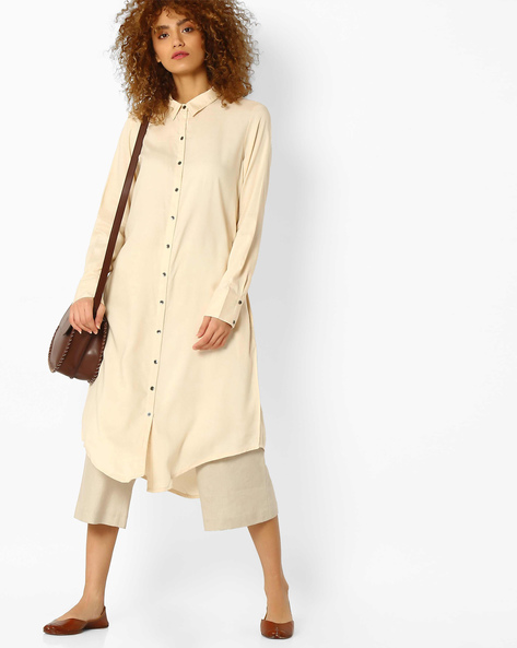 Straight Kurta With Asymmetric Hem By Melange By Lifestyle ( Beige )