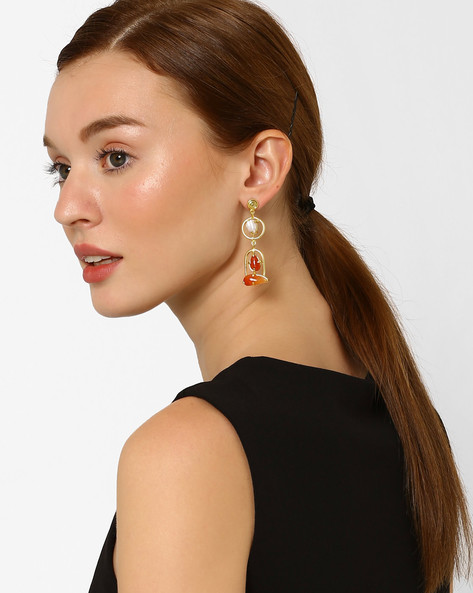 Carnelian & Hammered Pearl Drop-Earrings By AJIO ( Multi )