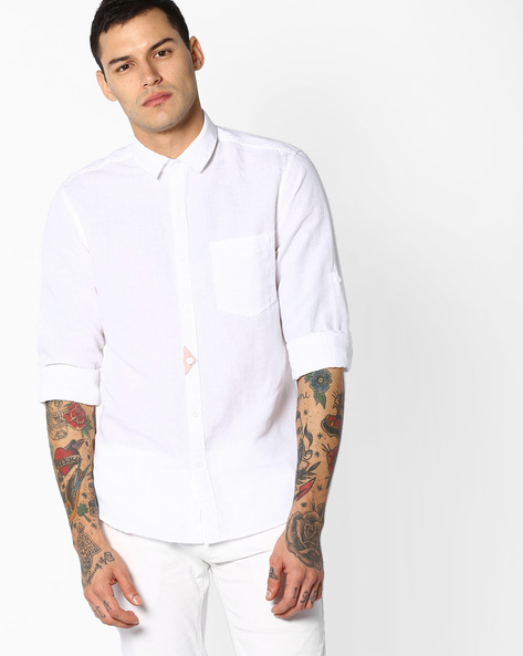 Slim Fit Summer Shirt With Patch Pocket By AJIO ( White )