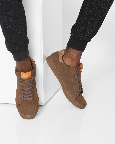 Suede Lace-Up Casual Shoes By British Knights ( Brown )