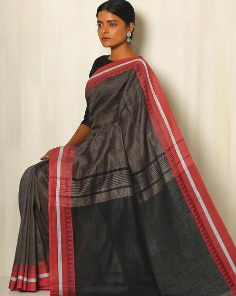 Handwoven Linen Saree With Cotton Contrast Border By Indie Picks ( Beige )
