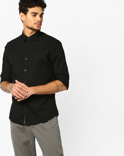 Slim Fit Shirt With Spread Collar By AJIO ( Black )