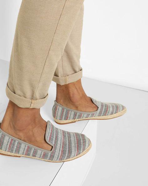 Striped Slip-On Espadrilles By AJIO ( Grey )