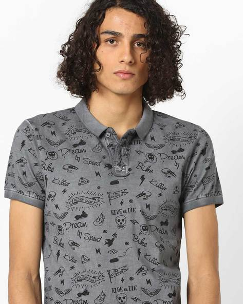 Slim Fit Printed Polo T-shirt By Jack & Jones ( White )