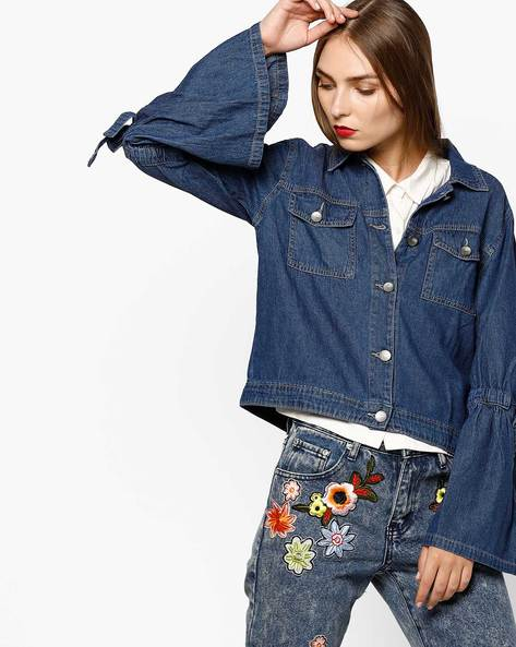 Denim Jacket With Bell Sleeves By AJIO ( Blue )