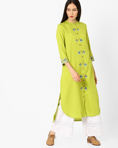 High-Low Kurta With Mandarin Collar By Global Desi ( Lime )