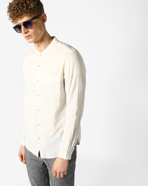 Striped Shirt With Mandarin Collar By UNITED COLORS OF BENETTON ( White )