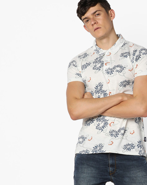 Floral Print Polo T-shirt By Jack & Jones ( Assorted )