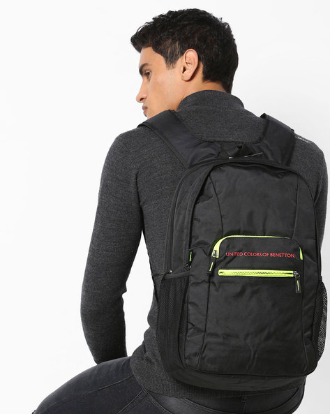 Travel Duffle Laptop Backpack By UNITED COLORS OF BENETTON ( Black )