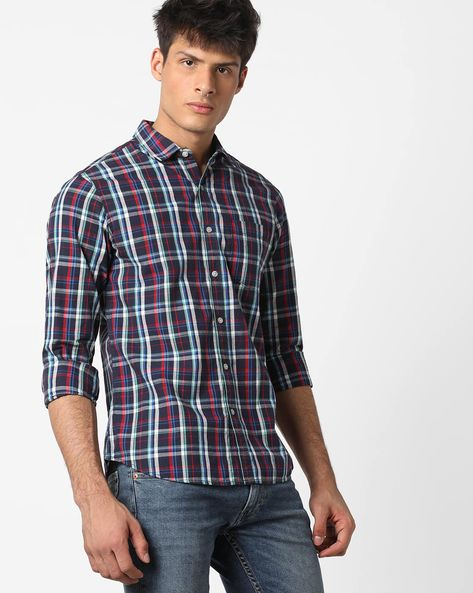 Checked Casual Shirt With Patch Pocket By AJIO ( Blue ) - 460153188001