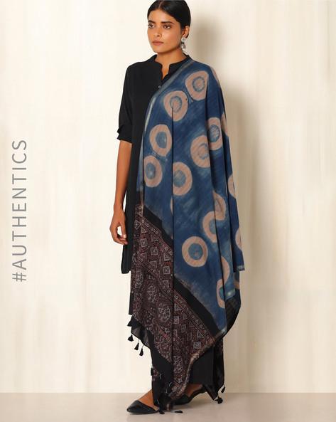 Ajrak Handblock Print Shibori Cotton Dupatta By Indie Picks ( Indigo ) - 460045124001