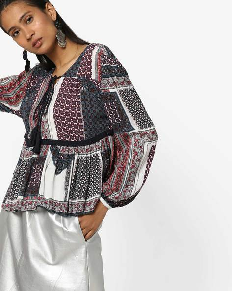 Printed Blouse Top With Tie-Up By Only ( White )