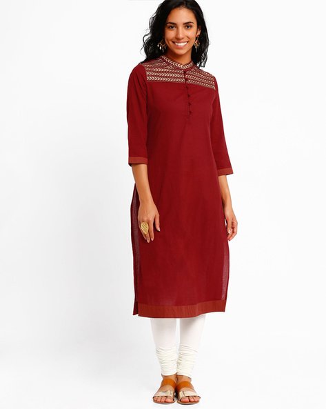 Kurta With Zari Embroidery By AJIO ( Red )