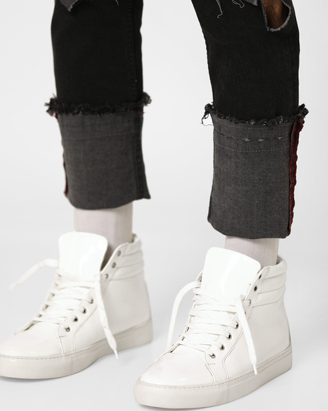 Panelled High-Top Casual Shoes By Blue Saint ( White )