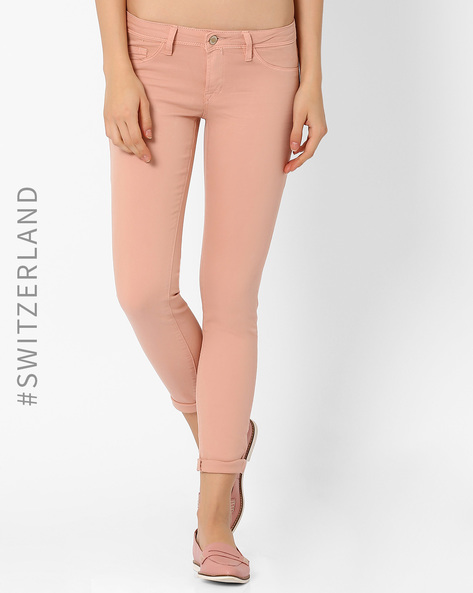 Skinny Fit Trousers By TALLY WEiJL ( Pink )